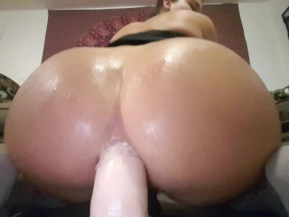 Juicy booty riding huge BBC and BWC dildos